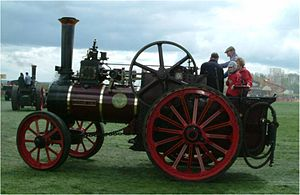 "Traction engine - A typical preserved traction engine: 1910 Allchin 7 nhp agricultural engine ""Evedon Lad"", at Stoke Goldington steam rally in 2005."