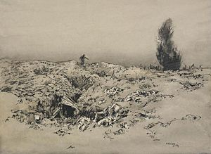 Adrian Hill - Trenches in Front of Arras - the Runner (Art.IWM ART223)