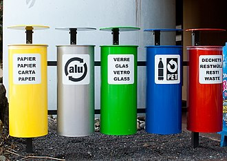 Municipal solid waste - Bins to collect paper, aluminium, glass, PET bottles and incinerable waste.