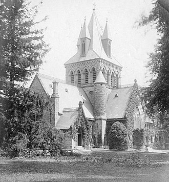 Trinity Church, Princeton - Trinity Church with its original tower and shorter nave before the renovations in 1914