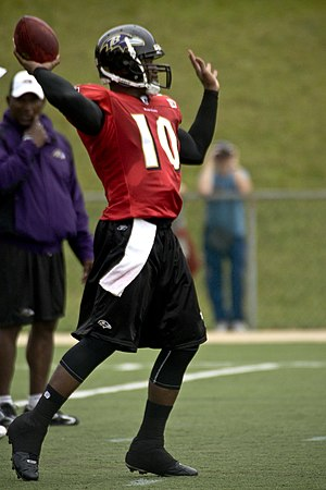 Ohio State Buckeyes football - Former Buckeyes QB Troy Smith (shown as a member of the NFL's Baltimore Ravens), the 2006 Heisman Trophy winner