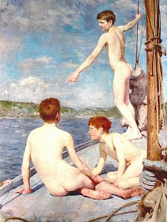 Henry Scott Tuke - Henry Scott Tuke, The Bathers, 1888. Leeds Art Gallery.
