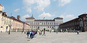 English: turin italy piazza castello