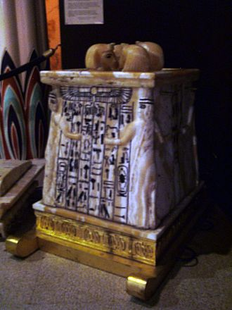 Canopic chest - Replica of Tutankhamun's canopic chest on display at the Rosicrucian Egyptian Museum.