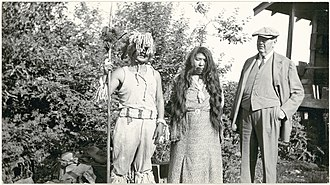 Saanich people - Image: Two Saanich people with GG Heye, 1938