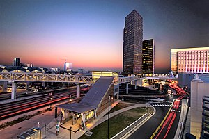 Skyline of Tysons from Tysons Corner Metro station at sunset