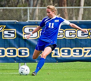 UC San Diego Tritons - A female striker for the UCSD Tritons women's soccer team