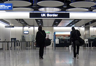 UK Border Agency - UKBA officers staff the UK border at London Heathrow Airport's Terminal 5