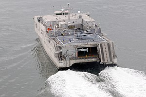 Spearhead-class expeditionary fast transport - Stern view of USNS Spearhead, with helicopter