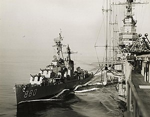 USS Dyess (DD-880) refueling from USS Coral Sea (CVB-43) in the Mediterranean Sea, circa in 1951