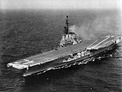 USS Franklin D. Roosevelt (CVA-42) underway at sea, circa in May 1956 (UA 543.03).jpg