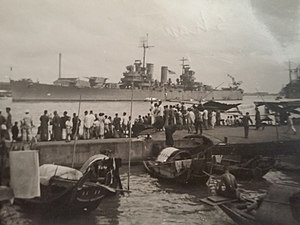 USS Nashville (CL-43) - USS Nashville CL-46, Oct. 1945, on Yangtze River Patrol, Whang-poo River, Shanghai, China, view from Whang-poo Pier