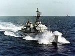 USS Rowan (DD-782) and USS Coral Sea (CVA-43) underway in the Western Pacific, circa in early 1965 (NH 103508-KN).jpg