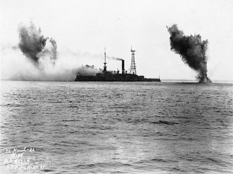 Target ship - Iowa under fire, prior to her sinking (March 1923)