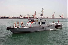 US Navy 040425-N-7542D-002 Iraqi Coastal Defense Force (ICDF) Patrol Craft 102 prepares to moor in Manama, Bahrain.jpg