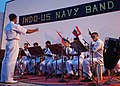 US Navy 040909-N-1212B-002 Musician 3rd Class Jesse Carmona, third from right, assigned to the Pacific Fleet rock band, Tsunami, plays with the Indian Navy Band.jpg