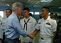 US Navy 050219-N-4267W-042 Former President William J. Clinton shakes the hand of Lt. Jorge Cuadros.jpg