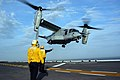 US Navy 050323-N-7945K-204 An MV-22 Osprey, assigned to the Argonauts of Marine Tiltrotor Operational Test and Evaluation Squadron Two Two (VMX-22). takes off from the flight deck.jpg