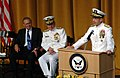 US Navy 050722-N-0962S-023 Chief of Naval Operations (CNO) Adm. Mike Mullen gives his first remarks as CNO after being sworn in by Secretary of the Navy Gordon England.jpg