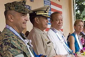 Ramon Magsaysay Jr. - Image: US Navy 061027 M 0049M 001 attend a ceremony marking the completion of an engineering civil action project conducted by U.S. and Philippine Armed Forces