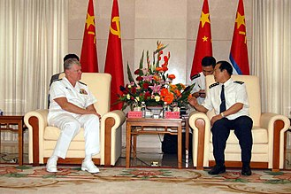 Courtesy call - Admiral Gary Roughead making a courtesy call on Vice Admiral Gu Wengen in the port of Zhanjiang