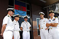 US Navy 081028-N-7095C-002 Vice Adm. John Bird, Commander, U.S. 7th Fleet, center right, greets naval leaders from the United Kingdom, New Zealand and Australia after an office call with Rear Adm. Nora Tyson, right, Commander,.jpg