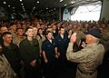 US Navy 081208-N-4236E-084 Retired Gunnery Sgt. R. Lee Ermey visits with Sailors and Marines aboard USS Iwo Jima (LHD 7).jpg