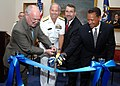 US Navy 090828-O-8395K-001 VIP's cut a ribbon signifying the grand reopening of the U.S. Naval Academy Museum.jpg