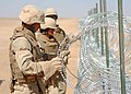 US Navy 090903-N-4440L-246 Seabees assigned to Naval Mobile Construction Battalion (NMCB) 74, install concertina wire during a three-mile expansion of Camp Leatherneck.jpg