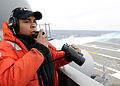 US Navy 100227-N-3885H-095 Seaman Kyle Tugman stands port lookout aboard USS George H.W. Bush (CVN 77).jpg