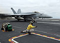 US Navy 100807-N-2821G-556 An F-A-18E Super Hornet is catapulted off the flight deck of USS Abraham Lincoln (CVN 72).jpg