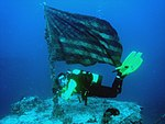 US flag with diver on USS Spiegel Grove (LSD-32) wreck in 2007.jpg