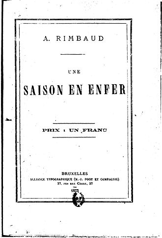 A Season in Hell - Cover of the first edition October 1873