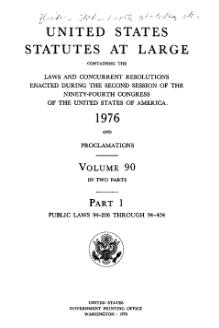 United States Statutes at Large Volume 90 Part 1.djvu