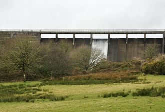River Tamar - The dam of the Upper Tamar Lake.