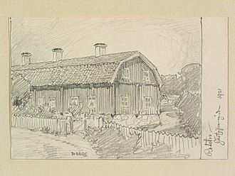 Rotebro - The inn at Rotebro, drawn by Ferdinand Boberg in 1921.