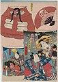 Utagawa Kunisada II - Kites with Pictures of Actors - Nakamura Tsuruzô I as Kajiwara Kagesue, Iwai Kumetarô III as Ôiso no Tora, Ichikawa Ichizô III as Soga Sukenari, unidentified actor as Minamoto Yoritomo, and Ichikawa Kodanji IV.jpg