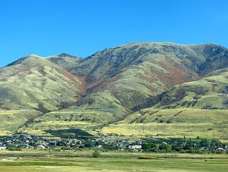 Perry, Utah - Looking east from I-15 toward Perry, Utah and the Wasatch Mountains, October 2014