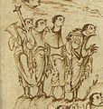 Utrechts-Psalter PSALM-149-PSALM-150 psalterio cythara drum timbrel.jpg