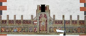 Burgundian Circle - Emperor Maximilian I and the coat of arms of the Burgundian provinces, wall fresco at the Vöcklabruck City Tower, 1502