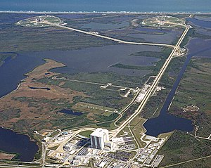 Crawlerway - Aerial view of Launch Complex 39. The Crawlerway is the pathway between the Vehicle Assembly Building and Pads 39A and 39B.