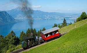 Rack railway - Locomotive nr 7 of the Vitznau-Rigi-Bahn, one of the last operational locomotives with a vertical boiler