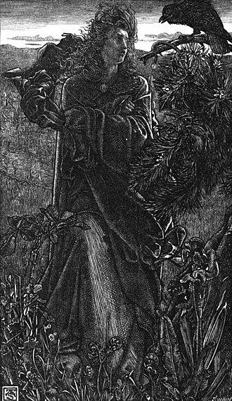 Hrafnsmál - A valkyrie speaks with a raven in a wood-engraving by Joseph Swain after Frederick Sandys, 1862