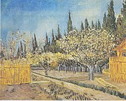 A painting of a blossoming orchard of many trees near wooden fences bordered by large cypress trees under a bright blue sky.