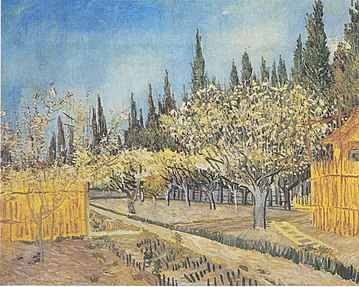 Orchard in Blossom, Bordered by Cypresses, April 1888. Kröller-Müller Museum, Otterlo, Netherlands
