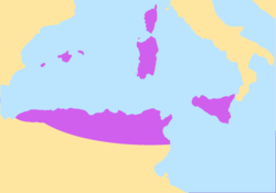 Greatest extent of the Vandal Kingdom c. 476