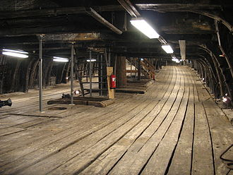Gun deck - The lower gun deck of the Swedish 17th century warship Vasa looking toward the bow