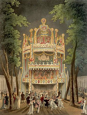 Promenade concert - Vauxhall Gardens, from the Microcosm of London, 1810