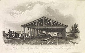 "Grand Junction Railway - ""Station Grand Junction Railway, Vauxhall, Birmingham"". Engraving by H. Harris, 1841."