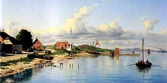 Vedbæk - Vedbæk, seen from the pier, 1864, Carl Baagøe